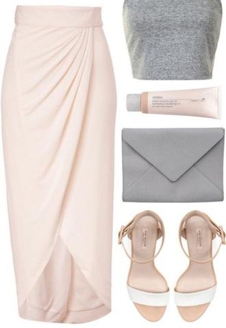 skirt pink blush light pink high waisted maxi skirt asymmetrical thigh high slit slit wrap skirt high low