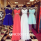 Niceoo dresses | classic scoop neck short long chiffon bridesmaids dresses prom dresses with beaded