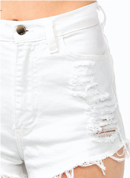 Trends High Waisted Distressed Ripped Slashed Black White Shorts ...