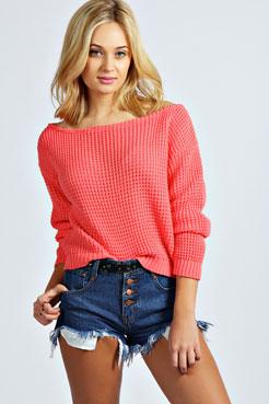 Jade crop slash neck waffle knit jumper at boohoo.com