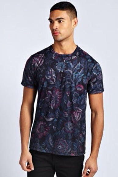 mens t-shirt for men black t-shirt floral floral print top purple summer t-shirt menswear