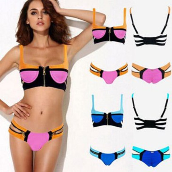 swimwear zipper bandage swimwear