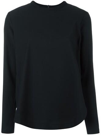 blouse back zip women spandex cotton black top