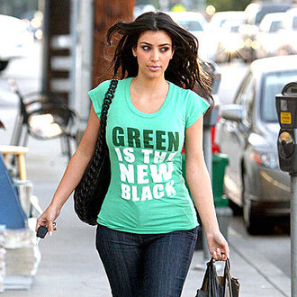 t-shirt kim kardashian jeans crop tops green black white shirt
