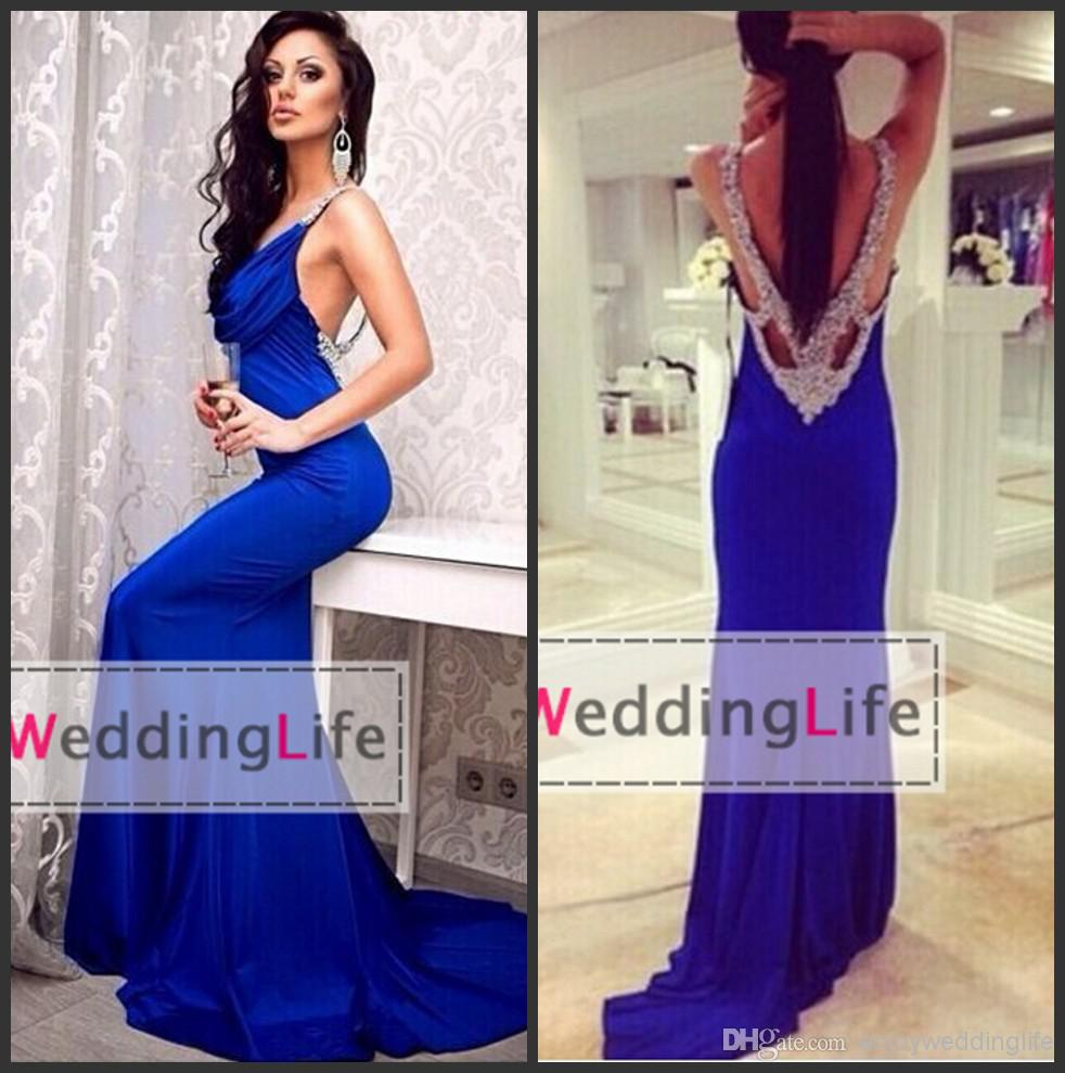 Discount 2014 Sexy New Royal Blue V Neck Satin Mermaid Prom Dresses Ruffles Beaded Rhinestones Backless Evening Gowns BO6582 Online with $131.22/Piece | DHgate