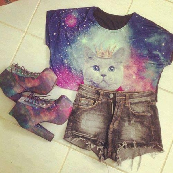 shirt cat top cats top crop tops galaxy top black shorts galaxy boots hgih waisted denim shorts high waisted denim shorts galaxy shoes galaxy heels blouse shoes galaxy print