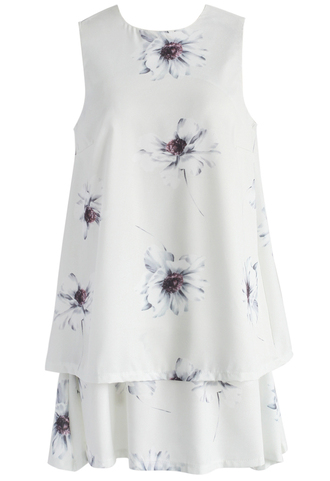 dress chicwish watercolor floral tiered chiffon dress in ivory floral dress chiffon dress summer dress ivory dress chicwish.com