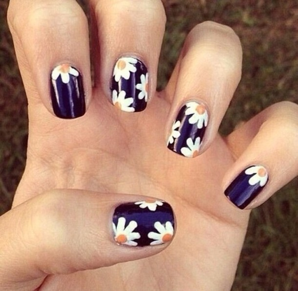 coat nail polish black yellow flowers nail accessories nails nail art flowers style cool cool girl style daisy