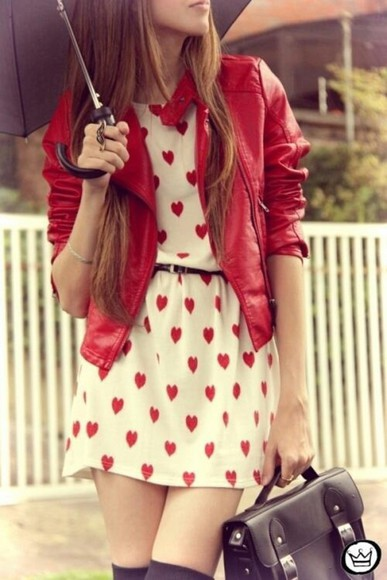 jacket red jacket dress white dress dress with red hearts black purse clothes bag