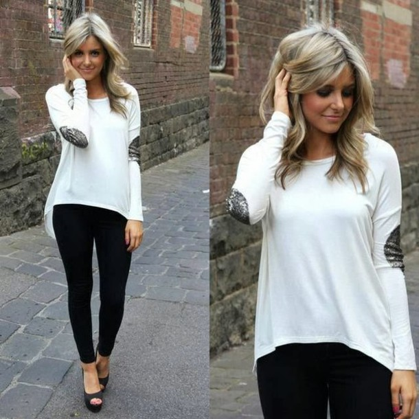Sweater: shirt, white, long sleeves, silver patch, loose, cute ...