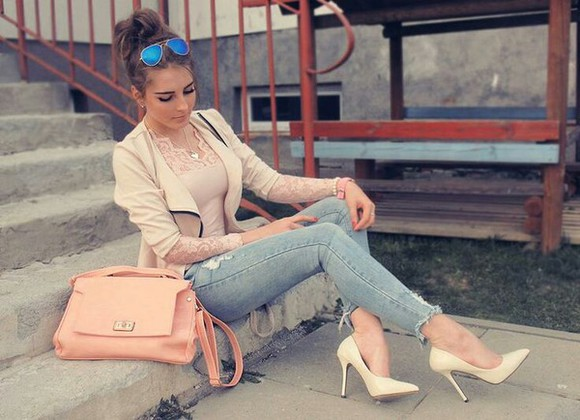 bag satchel shirt peach day bag fancy purse jacket jeans shoes