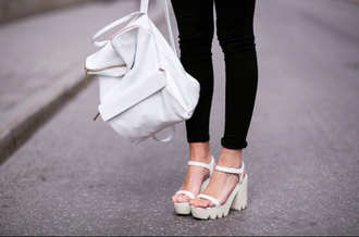shoes platform shoes cleated sole sandals heels white minimalist bag leather backpack backpack
