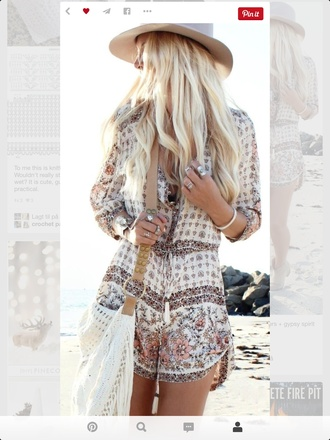 romper jumpsuit boho chic boho felt hat ankle boots floral neutral beige brown beach fashion pattern summer fashion inspo style tan bohemian dress haute couture jewelry boho dress hair make-up boho shirt boho romper playsuit cream