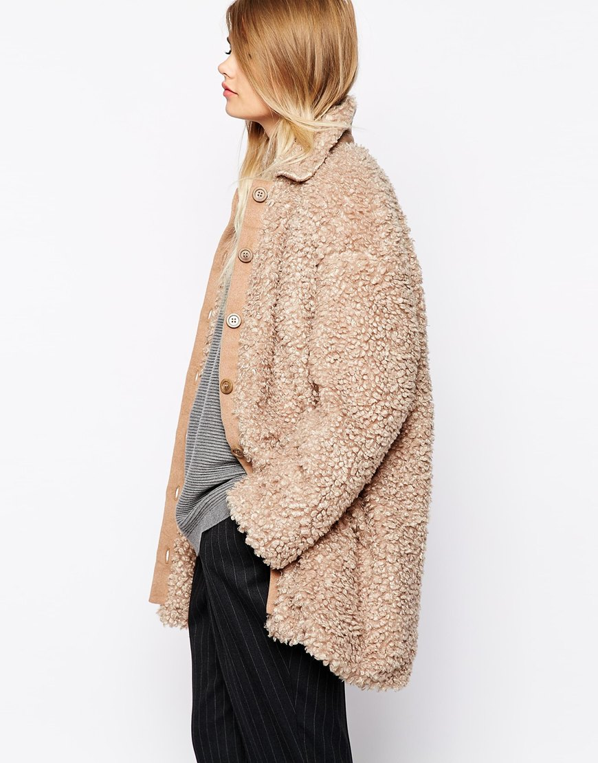 The laden showroom x paisie teddy bear faux fur coat at asos.com