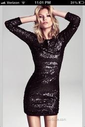 dress,black dress,sequins,sequin dress,sparkle,sparkling dress,3/4 sleeves,coat