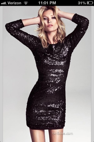 dress little black dress sequins sequin dress sparkles sparkling dress 3/4 sleeves coat