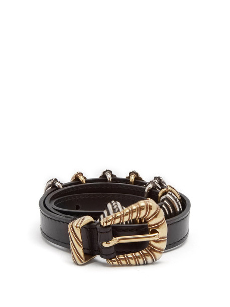 ETRO Buckle-embellished leather waist belt in black