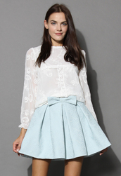 top,ethereal flower embroidered white blouse,chicwish,white blouse,floral top,embroidered top