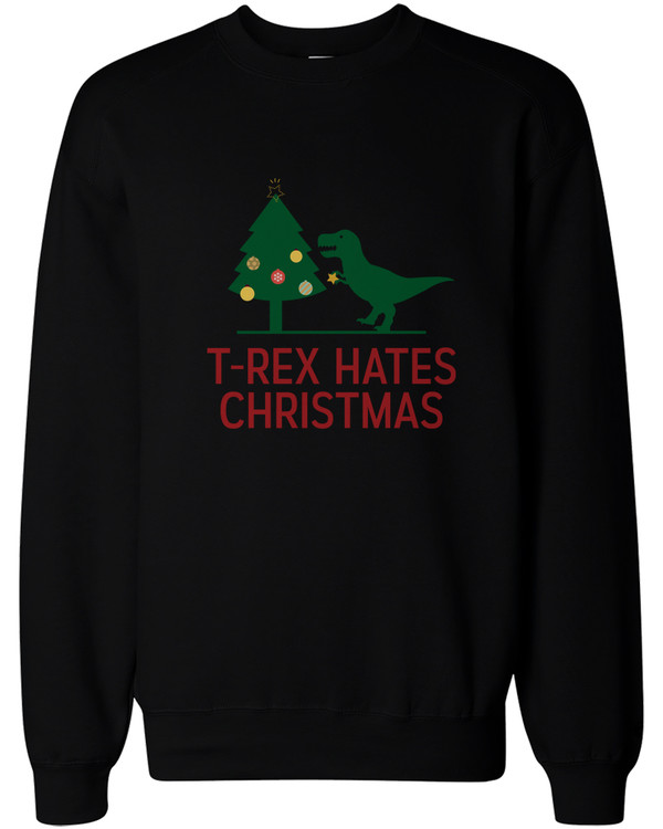 T-rex Hates Christmas Funny X-mas Sweatshirt Holiday Pullover ...