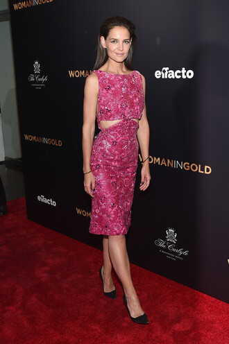dress midi dress katie holmes pumps pink