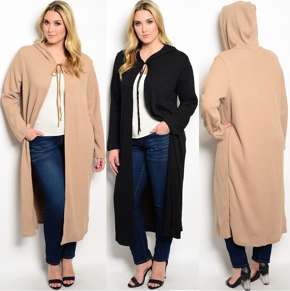 Plus Size Hoodie Long Cardigan Sweater Tunic Duster Jacket Cover ...