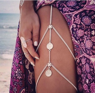 jewels leg chain silver gold summer beach free vibrationz