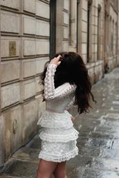 dress,tumblr,mini dress,white lace dress,lace dress,long sleeve dress,long sleeves,ruffle dress,ruffle,eyelet dress,eyelet detail,all white everything