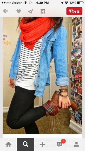 jacket shoes scarf blouse
