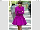 coat,fushia,glee,lea michele,purple,military style,rachel