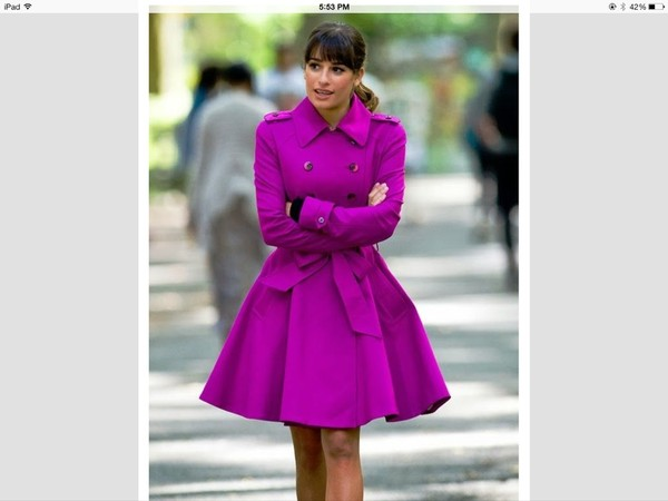 coat fushia glee lea michele purple military style rachel
