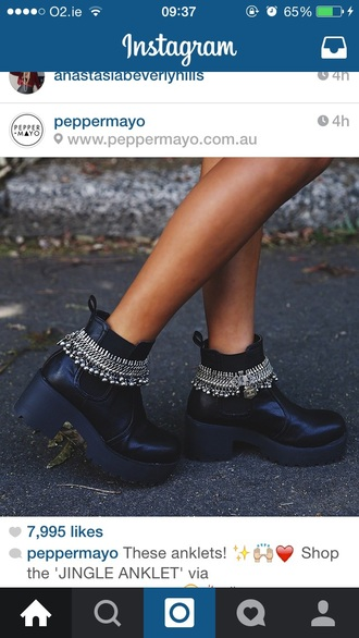 shoes jingle anklet boots chunky boots peppermayo
