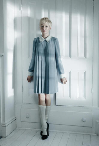 vintage michelle williams blue dress dress
