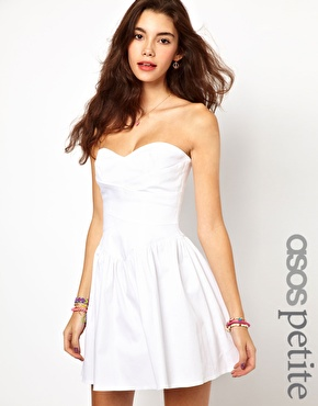 ASOS PETITE Exclusive Strapless Skater Dress With Waist Detail at asos.com