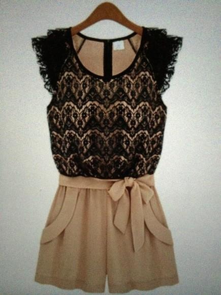 romper ashley lace tailored romper cute dress black