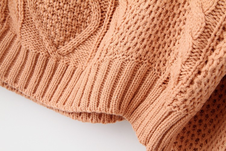 Pink Long Sleeve Cable Knit Pullover Sweater - Sheinside.com
