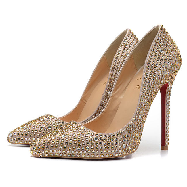 Cheap gold piaglle strass christian louboutin 120mm pointed toe pumps