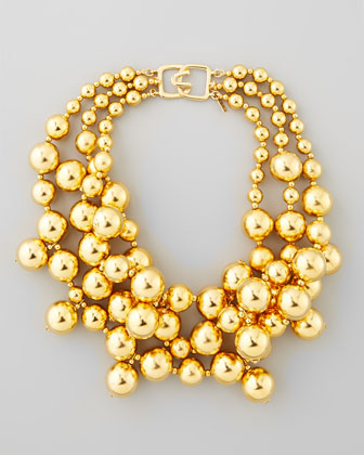 Kenneth Jay Lane Golden Beaded Cluster Necklace - Neiman Marcus