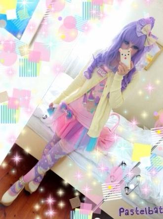 leggings purple and rainbow designs skirt sweater top