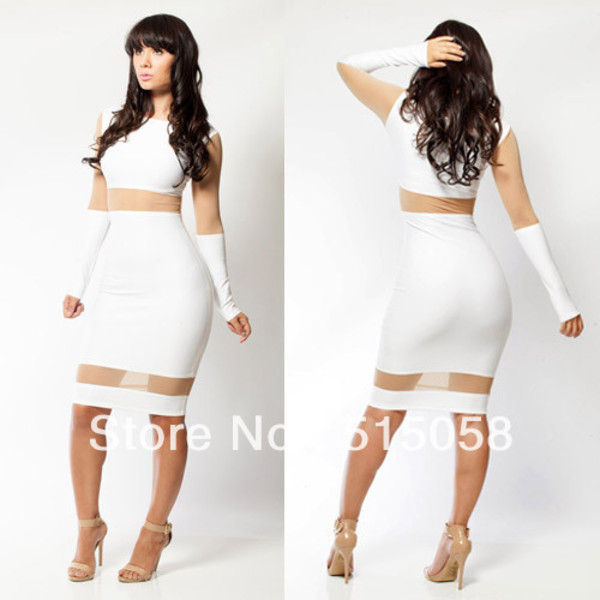 Dress: bandage dress, body, bodycon, bodycon dress, long sleeve ...