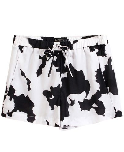White Black Drawstring Waist Dairy Cow Print Shorts