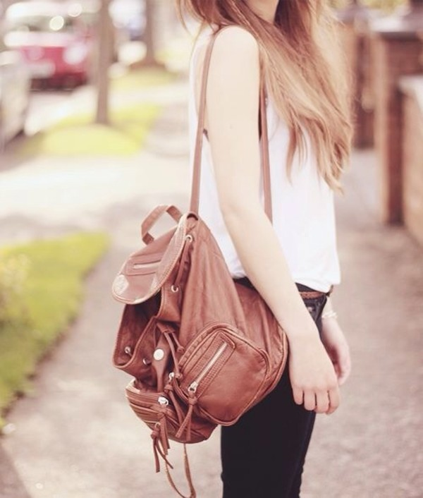 bag brown leather bag school bag