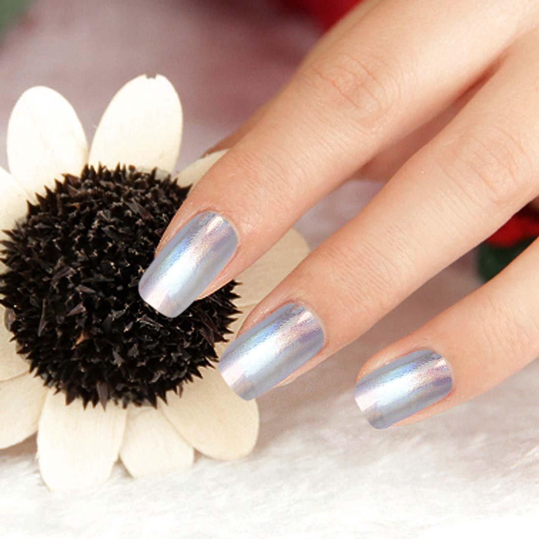Amazon.com : bmc 24pc silver colored holographic foil design nail polish art decal effect sticker wrap strips : beauty