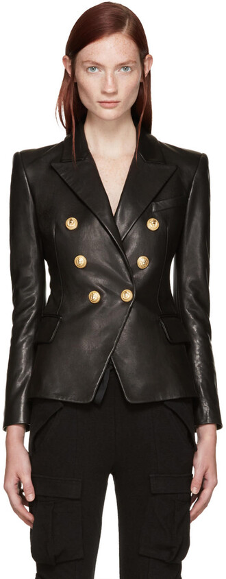 blazer leather black black leather jacket