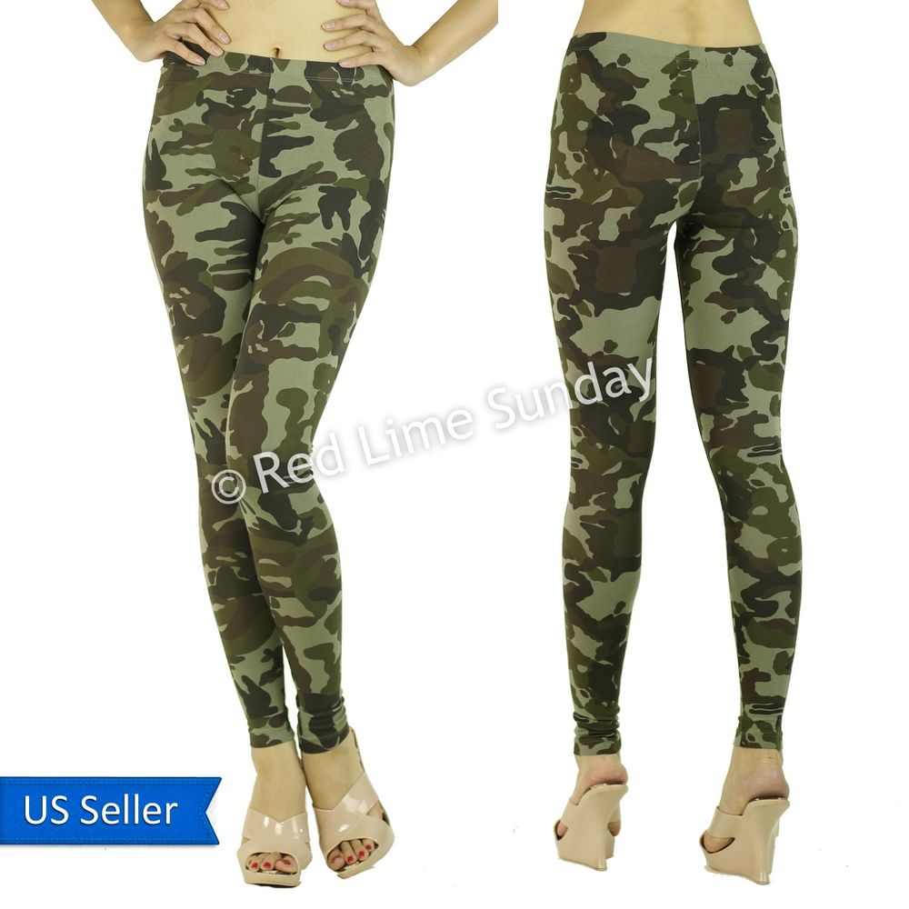 Women Army Green Camouflage Print Camo Stretchy Cotton Leggings Tights Pants