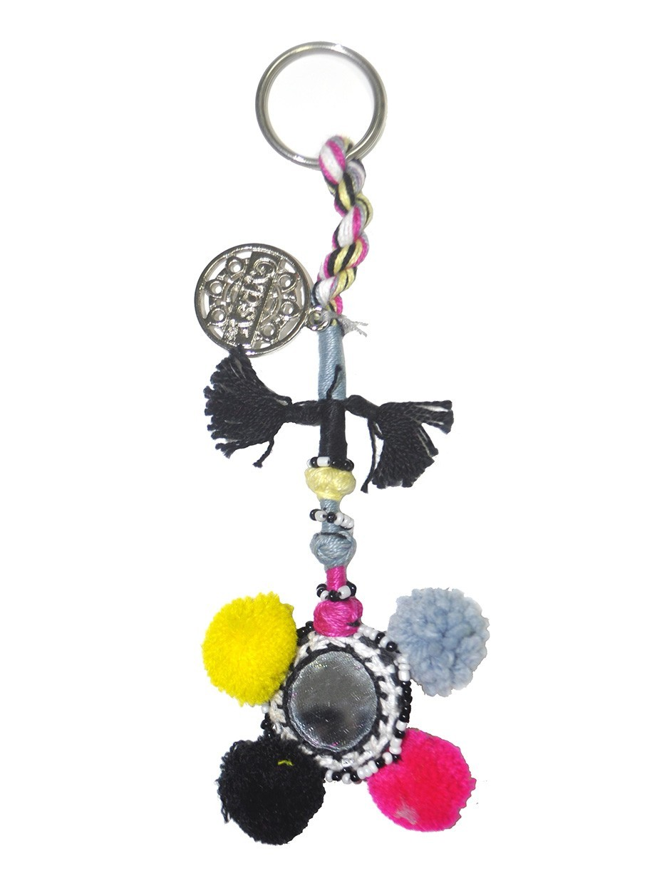 Gypsy05.Com - Official Website :: Shop Women Jewelry - Multi Color Pom Pom Keychain  As Seen On Jessica Alba, As Seen On Hilary Duff
