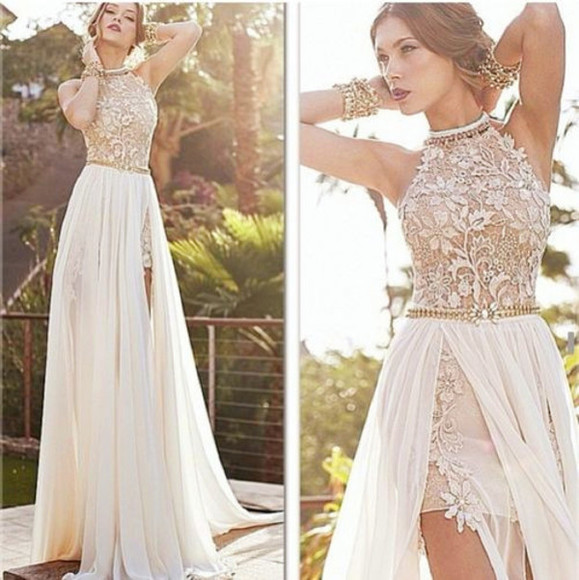 dress white dress lace dress prom dress long prom dresses lace nude prom dresses long prom dress flowers promdress i need this dress