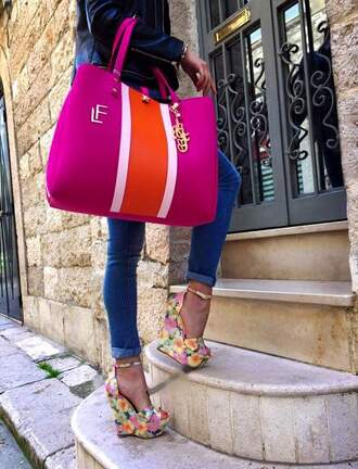 shoes wedges multcolor high heels bag