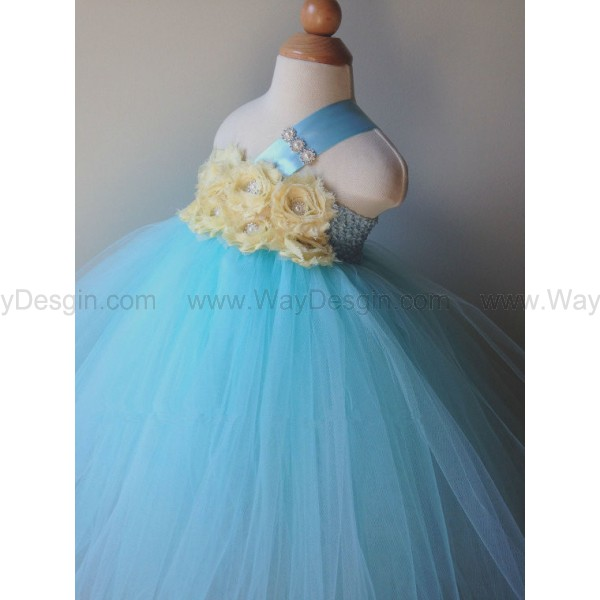 Flower girl dress tiffany blue tutu dress, light yellow roses, baby tutu dress, toddler tutu dress,newborn
