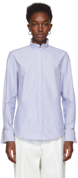 Protagonist shirt collar shirt pleated blue top