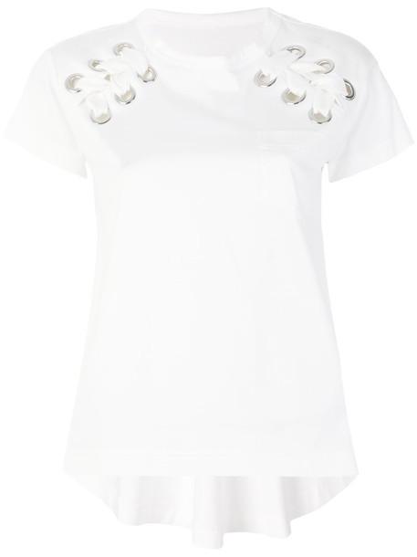 Sacai t-shirt shirt t-shirt women drawstring white cotton top